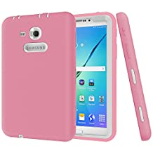 "Galaxy Tab 3 Lite 7.0 Case,Galaxy Tab E Lite 7.0 Case,MAKEIT Shock-Absorption / High Impact Resistant Hybrid Dual Layer Armor Defender Full Body Protective Case Cover for Samsung Galaxy Tab 3 Lite 7.0"" and Tab E Lite 7.0""-Pink/White"