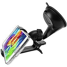 Easy One Hand Mount Car Holder Windshield Dash Cradle Stand Window Glass Swivel Dock Strong Suction for MetroPCS LG Optimus L90 - MetroPCS LG Stylo 2 Plus (MS550) - MetroPCS Samsung Galaxy Avant