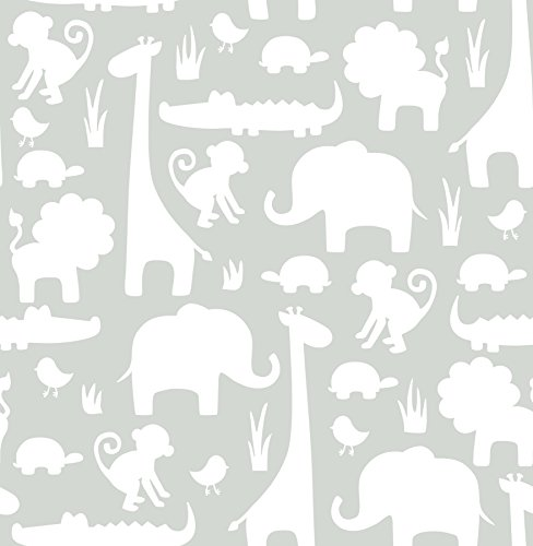 Babies Wallpaper - Wall Pops NU1393 Gray its a Jungle in Here Peel and Stick Wallpaper