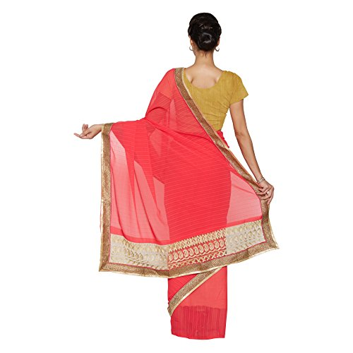 Viva-N-Diva-Peach-Chiffon-And-Net-Saree-With-Unstitched-Blouse-Piece