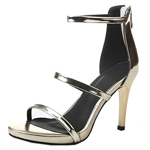 COOLCEPT Women Fashion Ankle Strap Sandals Open Toe Stiletto Shoes With Zip Gold
