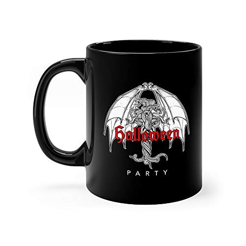 Snakes And Bat Wings Halloween Bw Necronomicon Funny Cute Mug Ceramic 11oz]()