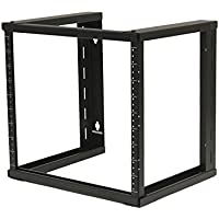 NavePoint 9U Wall Mount Open Frame 19 Server Equipment Rack Threaded 15 inch depth Black