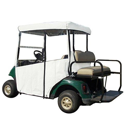 3 Sided Golf Cart Cover (White, Club CAR 2000+ w Utility Box/Rear Facing Seat)