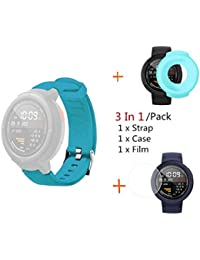 Silicone Watch Band Strap Case for Huami Amazfit Verge with Screen Protector and Case Cover (Blue)