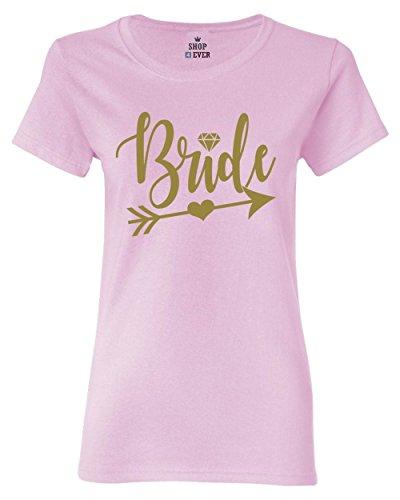 Shop4Ever Gold Bride Arrow Women's T-Shirt Wedding Shirts Small Light Pink0