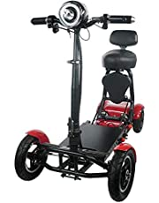 Fold and Travel Lightweight Mobility Scooters for Adults Foldable Lightweight Powered Scooter 4 Wheel Mobility Scooter Carrier Power Wheel Chairs Mobility Chair Scooter de Movilidad (RED)