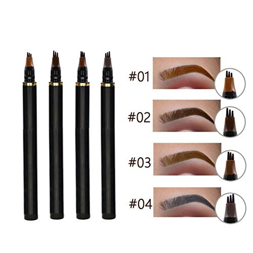Eyebrow Pencil Waterproof Eyebrow Tattoo Pen Long Lasting Pencil with a Micro-Fork Tip Dyed Long-Lasting Eye Makeup Tools Anti-Sweat (#02 Brown)