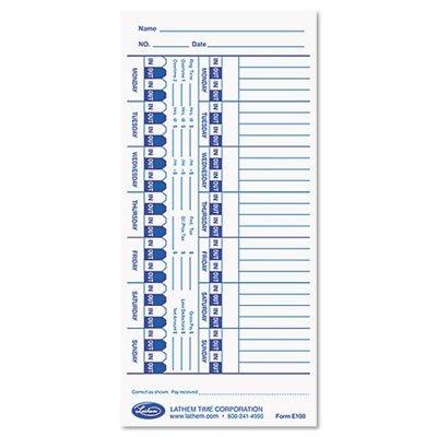 LTHE100 - Lathem Time Card for Lathem Models 900E/1000E/1500E/5000E
