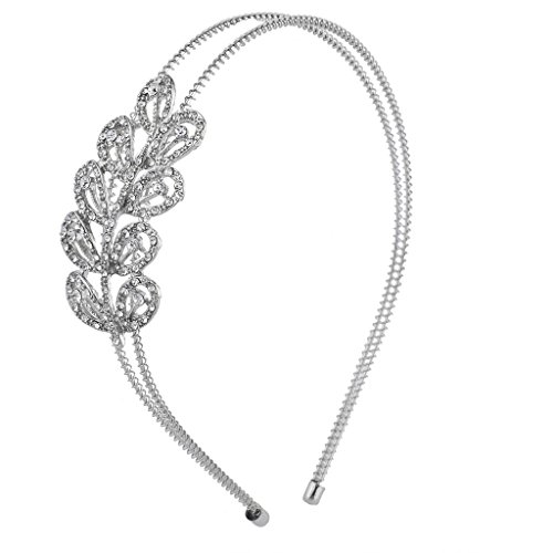 (Lux Accessories Silver Tone Crystal Rhinestone Scalloped Two RowCoil Headband)