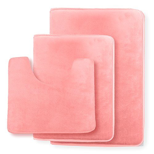 Clara Clark Non Slip Memory Foam Tub-Shower Bath Rug Set, Includes 1 Small Size 17 x 24 in. 1 Large Size 20 X 32 in. 1 Contour Rug 24 x 19 In. - Coral Pink (Pink Rug Bathroom Sets)