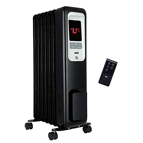 ANSIO 2300W Oil Filled Radiator Heater with 11 Fins and Remote, Portable Electric Heater, Thermostat, 24 Hr Built-in Timer, Child Lock, Overheat, Accidental Tip-Over Protection 3 Year Warranty