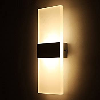 Amazon led wall light bedside wall lamp oenbopo modern geekercity modern acrylic 6w led bedroom wall lamps fixture decorative lamps night light for pathway staircase mozeypictures Image collections