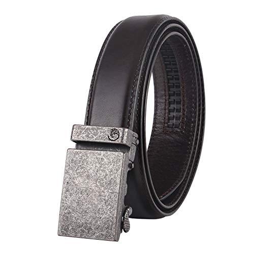[해외]NPET 남성용 풀 그레인 가죽 래칫 드레스 벨트 자동 버클 35mm 너비 1 38 / NPET AT020 Men`s Ratchet Leather BeltAutomatic Buckle 35mm