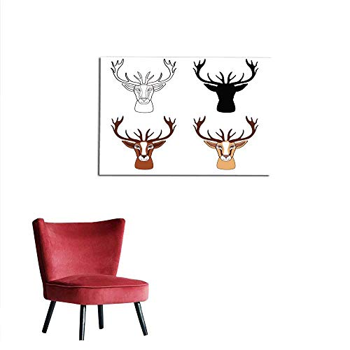Mural Decoration Deer Hand Drawn Cartoon Graphic Illustration Isolated on White Background Wild Animal with Curved Horns Mascot line Head Character Design for Greeting Card Decorative pmural 20