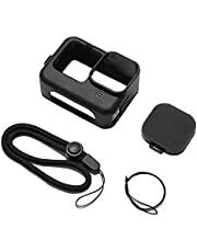Silicone Protective Case for GoPro Hero 9 Accessories Kit Lens Cap Hand Strap Black
