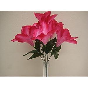 "Phoenix Silk 6 Bushes Amaryllis Artificial Silk Flowers 16"" Bouquet 6-647 42"