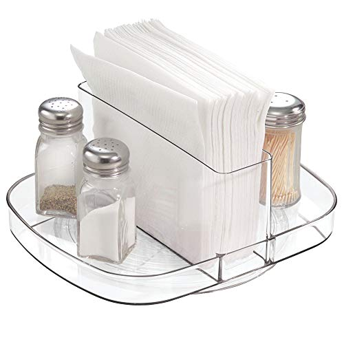 (InterDesign Linus Plastic Lazy Susan Napkin and Condiments Turntable Holder for Kitchen Countertops and Dining Tables, Clear)