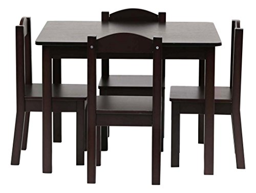 Tot Tutors TC824 Espresso Collection Kids Wood Table U0026 4 Chair Set,  Espresso By Tot