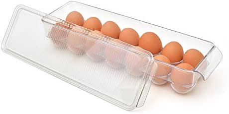 Kitchen Pantry Organization Holder for 12 Eggs 12 eggs Freezer Eggs Dispenser for Fridge BPA Free Polyethylene SPARIK ENJOY Stackable Refrigerator Bin