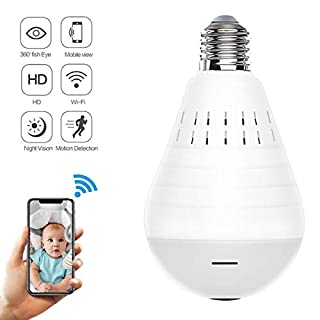 Light Bulb Camera,Dome Surveillance Camera 1080P 2.4GHz WiFi FishEye 360° Wireless Security IP Panoramic,with IR Motion Detection, Night Vision, Alarm, for Home, Office, Baby, Pet Monitor
