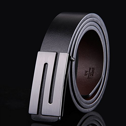 E-Clover Men's Casual Smooth S Buckle Black Jean Leather Belt (110CM) by E-Clover (Image #1)