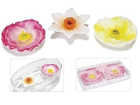 Ideapiu scatola candele galleggianti a forma di fiore colorato