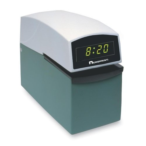 Acroprint Digital Heavy-Duty Electric Time Stamp-Digital Time Stamp W/Digital Face, Putty Top/ Green Base (Putty Top)