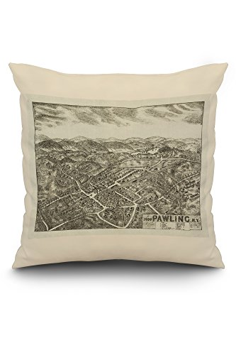 Pawling, New York - Panoramic Map (20x20 Spun Polyester Pillow, White ()