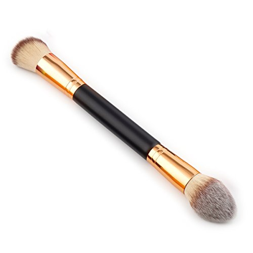 Double Cheek Contour Brush (Mezerdoo Single Double Head Brush Professional Powder Blush Facial Beauty Foundation Makeup Brushes Tools Flame Shape Brush (FaD675))