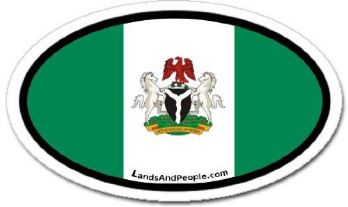 ia Nigerian Coat of Arms and Flag Car Bumper Sticker Decal Oval ()