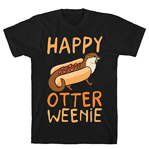 LookHUMAN Happy Otterweenie 2X Black Men's Cotton -