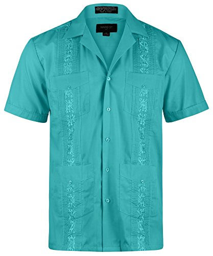 Ward St Men's Short Sleeve Cuban Guayabera, 4XL, 20-20.5N, Turquoise