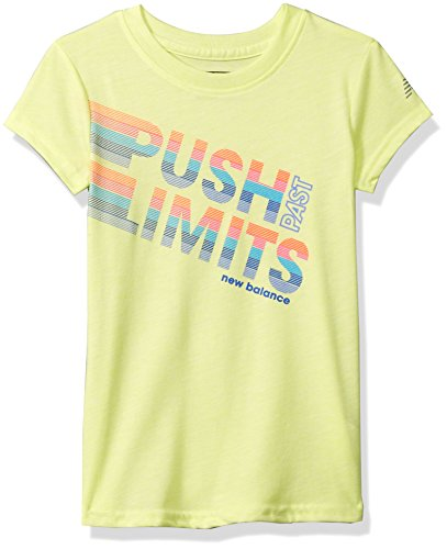 New Balance Kids Big Girls' Short Sleeve Graphic Tee, Solar Yellow, 14