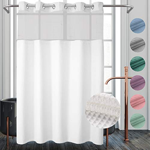 River Dream Waffle Weave Fabric Shower Curtain No Hooks Needed, Cotton Blend, with Snap-in Repalcement Liner – Hotel Grade, Water Repellent, Machine Washable – 71×74, White