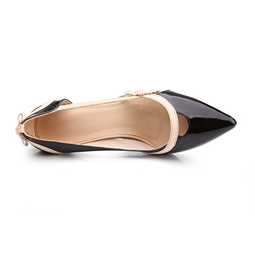 Black Bowknot BalaMasa Bottom PU Spun Gold Pumps Thick Color Womens Shoes Heel Matching Fttqr7B