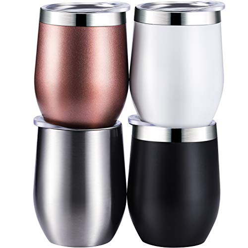 Skylety 4 Pack 12 Oz Unbreakable Triple-Insulated Stemless Wine Tumbler, Stainless Steel Wine Glass Cup with Lids, Drink-ware Glasses for Wine, Coffee, Champagne, Cocktails and Beer (Multi-color A) (Best Insulated Tumbler With Lid)