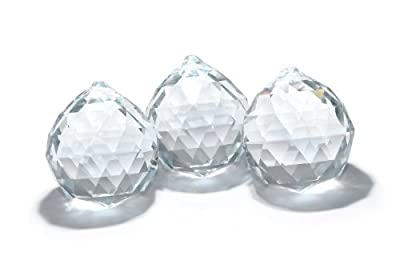 3 X Qzoxx 40mm Vintage Crystal White Ball Feng Shui Ball