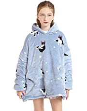 MoneRffi Blanket Hoodie Sweatshirt Kids Giant Oversized Sherpa Wearable Blanket Super Warm Soft Cozy Fleece Hooded Sweater for Boys Girls with Large Pocket
