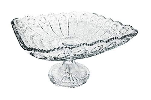 Pars Collections New Elegant Crystal Glass Centerpiece Serving Footed Square Bowl for Home, Office, Décor, Serving Fruit or Desert (Clear) ()