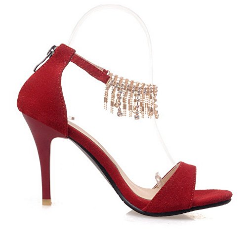 AmoonyFashion Womens Zipper Open Toe Spikes Stilettos Frosted Solid Sandals Red 3BbGFt0