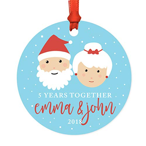 Andaz Press Personalized Wedding Anniversary Metal Christmas Ornament, 5 Years Together, Emma & John 2019, Santa and Mrs. Claus with Elf, 1-Pack, Includes Ribbon and Gift Bag, Custom Name -  APP12196