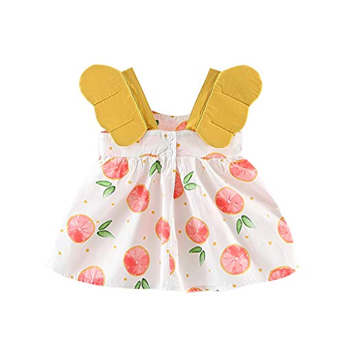 (Summer Princess Dress for Toddler Baby Girl, Photoshoot Prop Party Beach Sundress Peach Print Angel Wings Dress (Pink, 12-18 Months))