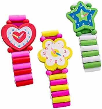 Hemobllo 3pcs Wooden Cartoon Simulation Wristwatch Child Bracelet Watch for Halloween (Random Style)