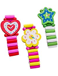 3pcs Wooden Cartoon Simulation Wristwatch Child Bracelet Watch for Halloween (Random Style)