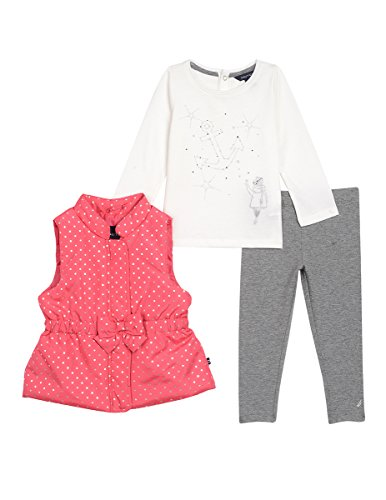 Nautica Baby Girls' Three Piece Vest, Top and Pant Set, Bright Pink/Silver, 24 (Vest Top Pants)