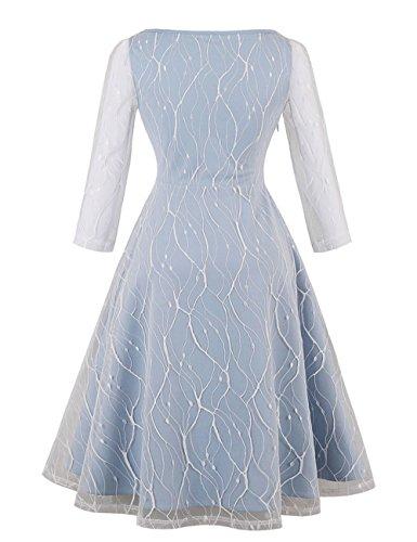 VKStar 50s Retro Kleid Große Größen Damen Langarm Spitzenkleid ...