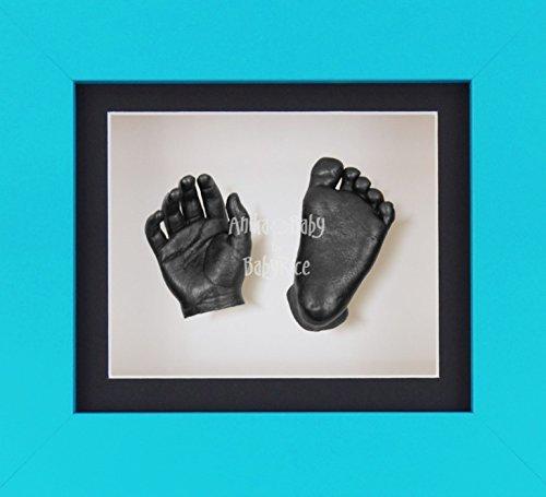 BabyRice 3D Baby Boy Casting Kit Blue Frame Pewter Foot Casts