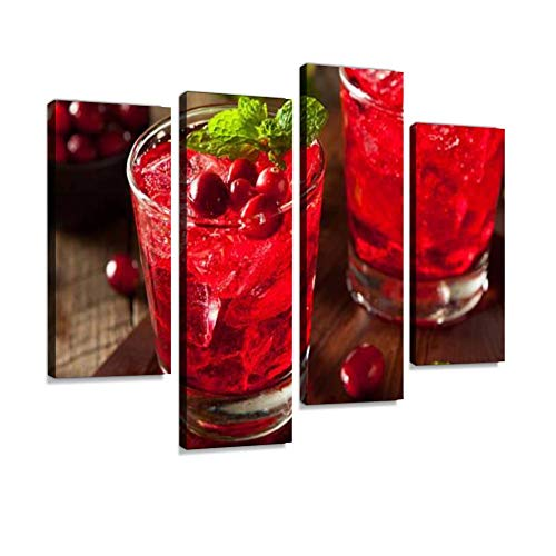 - Homemade Boozy Cranberry Cocktail Canvas Wall Art Hanging Paintings Modern Artwork Abstract Picture Prints Home Decoration Gift Unique Designed Framed 4 Panel