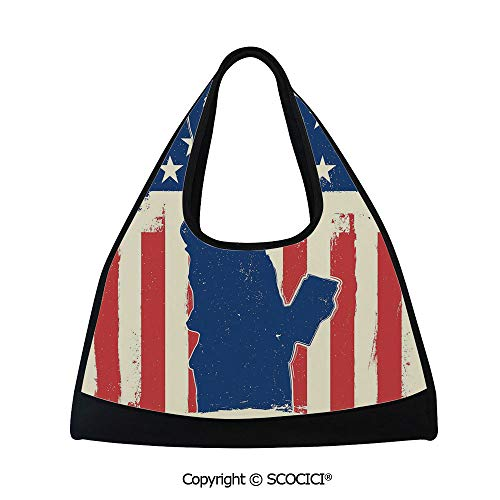 Badminton bag,Independence Day Design with Star Button and Sunburst Stripes Artsy Image,Sports and Fitness Essentials(18.5x6.7x20 in) Red Blue ()